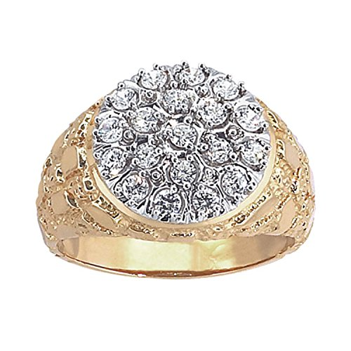 Men's 10k Two-Tone Gold with Nugget Sides Diamond Cluster Wedding Band (1 cttw, H-I Color, I1-I2 Clarity), Size 9.5 (Ring Gold 10k Nugget)