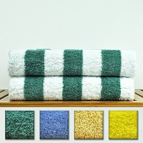 Luxury Hotel & Spa Towel 100% Genuine Turkish Cotton - Extra Large Cabana Striped Pool Beach Towel Set (Sea Green, Set of 2)