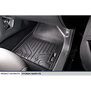 SMARTLINER Floor Mats 3 Row Liner Set Black for 2013-2018 Hyundai Santa Fe