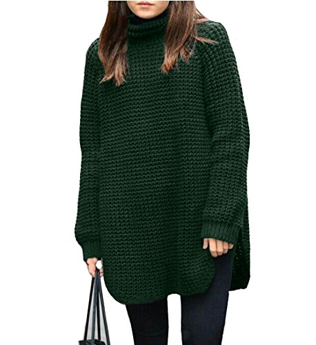 SSeary Women Turtleneck Cashmere Knit Long Sleeve Chic Thick Pullover Sweater Dress,Dark - Chic Thick