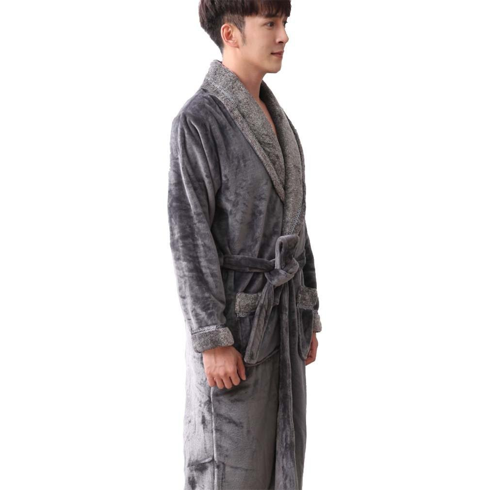 fc070e4ff7 moxin Mens Soft Warm Flannel Comfortable Cotton Self Tie Long Bathrobe  Dressing Gown Loungewear Robe Grey at Amazon Men s Clothing store