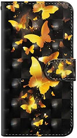 OMATENTI Galaxy J8 2018 ケース, ファッション人気 高級PUレザー カードポケット スタンド機能 薄型 スマホケース 手帳型ケース 付き 落下防止 全面保護 衝撃吸収 保護カバー Galaxy J8 2018 用, 青い蝶