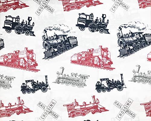 (Max Studio 3 Piece Twin Size Single Bed Cotton Percale Sheet Set Antique Steam Train Engines)