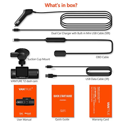 Vantrue T2 24/7 Recording OBD2 Dash Camera Super Capacitor Dash Cam 1920x1080P 2.0'' LCD 160° Car Dashboard Camera w/Microwave Parking Mode Recorder, Night Vision, Sony Sensor, Support 256GB Max by VANTRUE (Image #8)