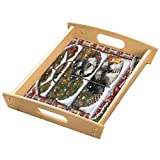 Please Come Home For Christmas Schnauzers Sitting In Window Wood Serving Tray with Handles Natural