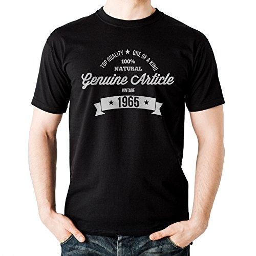 NEW - GENUINE 1965 de artículo - para hombre Negro T-camiseta de manga corta de algodón - Regalo de Navidad diseño de muñeco con auriculares con texto en inglés y