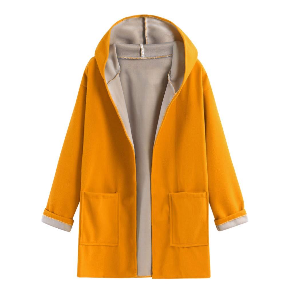 Cuekondy Women's Warm Cardigan Open Front Sweater Hooded Coat Long Sleeve Loose Pocket Jacket Outwear Overcoat