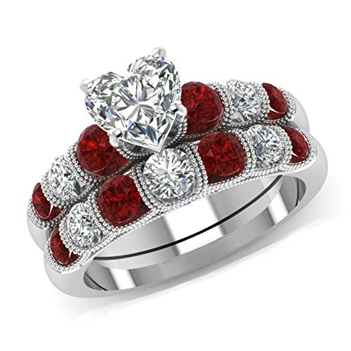 Ring Diamonds Happy Heart (Womens 2 PCS Heart Cut Cubic Zirconia Ring Silver Crystal Red Created Diamond Engagement Wedding Band Ring Set Jewelry (7))
