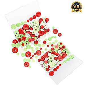 SUBANG 2 Pack Christmas Buttons 2 and 4 Holes Craft Buttons Assorted Sized Sewing Buttons With Plastic Storage Box For Christmas DIY, Red, Green and White,200g Total