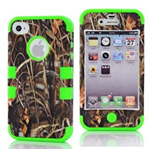 SHHR-HX4G75N Straw Grass Mossy Camo Design Hybrid Cover Case for Apple iPhone4 4s 4G -Green Color