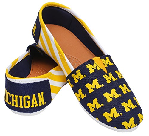 Forever Collectibles NCAA Michigan Wolverines Women's Canvas Stripe Shoes, Small (5-6), Blue