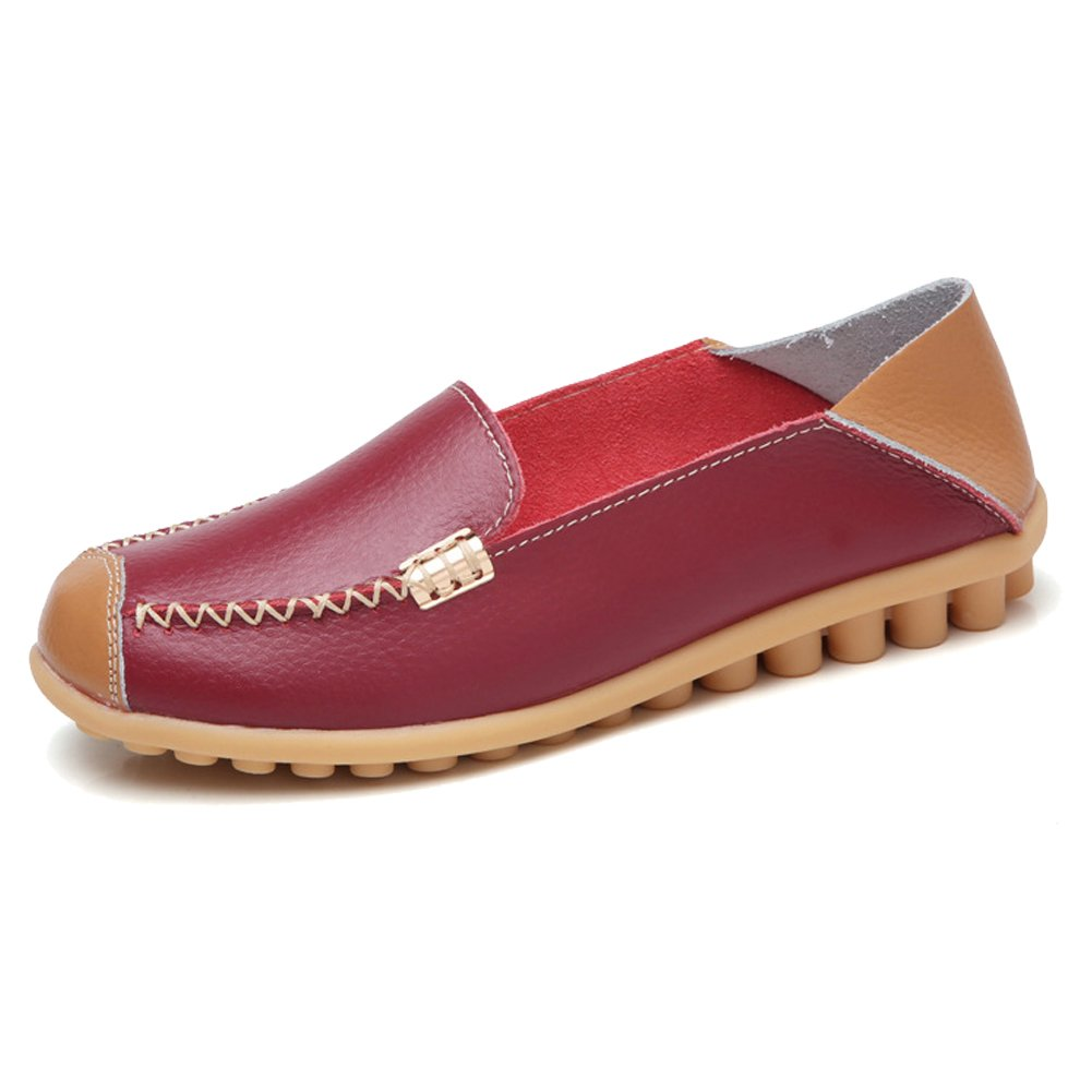 NineCiFun Womens Soft Leather Slip On Loafers Casual Flat Moccasins(9 B(M) US,Red Wine)