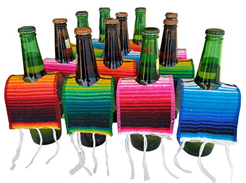 Yanis Gifts 12 Beer Poncho Mini Serapes for Cinco De Mayo, Day of The Dead or Any Mexican Party or Fiesta, 3 Orange, 3 Blue, 3 Green, 3 Red Ponchos for Beer 12 Pack, Tequila or Margarita Mix Bottles