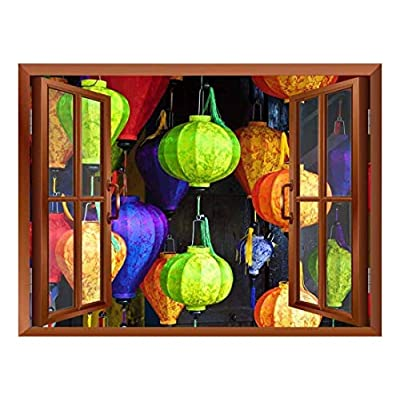 Modern Copper Window Looking Out Into Colorful Japanese Lanterns with Designs on Them - Wall Mural, Removable Sticker, Home Decor - 36x48 inches