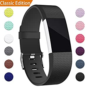 For Fitbit Charge 2 Bands, Hotodeal Replacement Wristbands Soft Silicone Accessory Strap for Fitbit Charge2 HR Tracker, Buckle, 12 Colors, Small Black