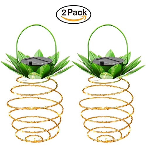 Garden Solar Lights,Sapoelis Pineapple Lanterns Solar Lights for Patio Path Home,25 LED Waterproof Hanging Fairy Lights for Outdoor Patio Yard Decor (2 Pack) by Sapoelis