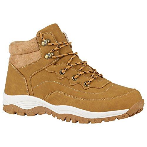 Stiefelparadies Herren Outdoor Boots Gefütterte Winter Schuhe Bequem Profil Sohle Flandell Hellbraun Schnürung