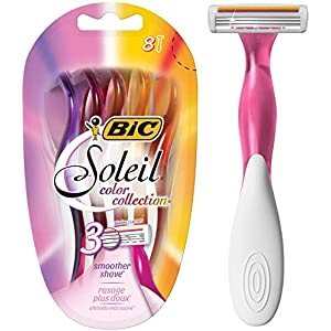 BIC Soleil Color Collection Women's Disposable Razor, 3 Blade, 8-Count