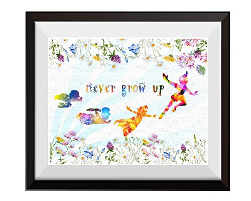 Uhomate Peter Pan Never Grow Up Home Canvas Prints Wall Art Anniversary Gifts Baby Gift Inspirational Quotes Wall Decor Living Room Bedroom Bathroom Artwork C017 (8X10)