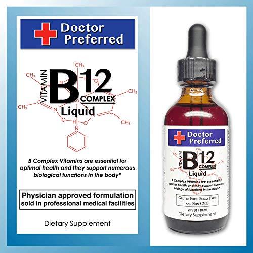 Vitamin B12 Complex Liquid Sublingual Drops Fast Absorption B2, B3, B5, B6 and B12. 2 fl oz – 60 Day Supply