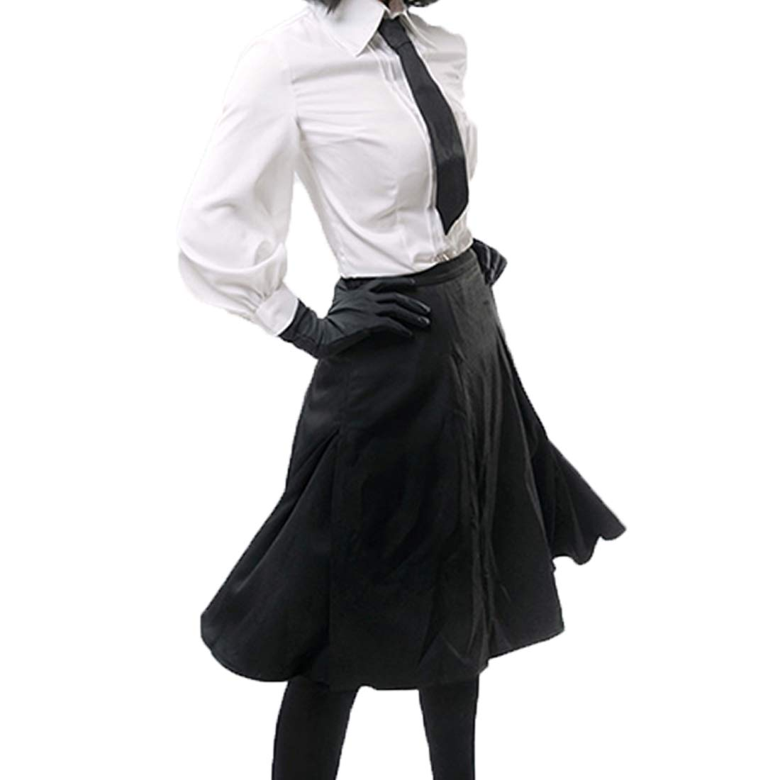 YKJ Traje de Cosplay de Anime Camisa Blanca Vestido Largo Negro ...