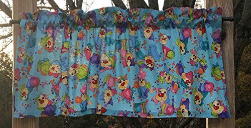 Bubbles Valance (Dog Canine Rainbow Happy Pet Clown Puppy Bubbles Blue Handcrafted Curtain Valance)