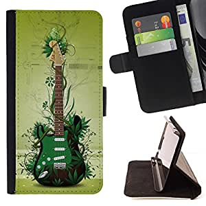 For Samsung Galaxy S6 Case , Verde de la guitarra- la tarjeta de Crédito Slots PU Funda de cuero Monedero caso cubierta de piel