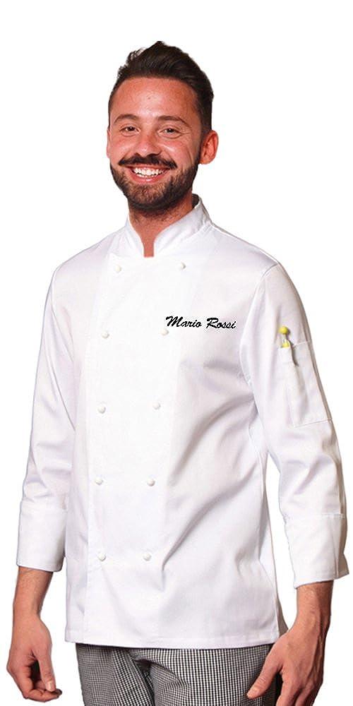 TCD GROUP Ricamo Gratuito Giacca Casacca da Chef Cuoco Bianca SPEDIZIONE Rapida E Gratuita
