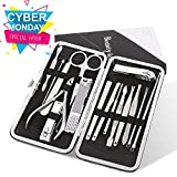 Nail Clippers, Toki 16 in 1 Stainless Steel Manicure Pedicure Set with Leather Case