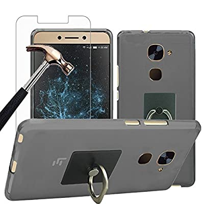 LeEco - Le S3 Case with Phone Holder + Screen Protector, Gzerma Shock-Absorbing TPU Protection Cover with 360 Rotation Kickstand and Shatterproof Protective Film for LeEco Le S3 Unlocked Smartphone