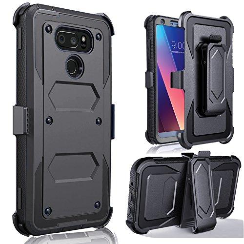 LG V30 Case, LG V30 Plus Case - Jwest Full-body Rugged Belt Clip Holster Kickstand Case WITHOUT Built-in Screen Protector For LG V30+ Black (Deals Cricket Christmas Wireless)
