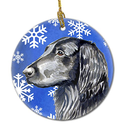 (Caroline's Treasures LH9276-CO1 Flat Coated Retriever Winter Snowflake Holiday Ceramic Ornament, Multicolor)