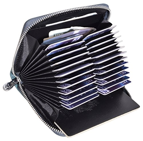 Easyoulife Genuine Leather Credit Card Holder Case RFID Travel Passport Wallet (Blue)