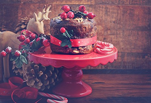 Laeacco 10x6.5ft Photography Backdrop Festive Christmas Small Rich Fruit Cake Vinyl Photo Background Nostalgic Vintage Reindeer Festival Ceremony Decorate Photo Backdrops Studio Props