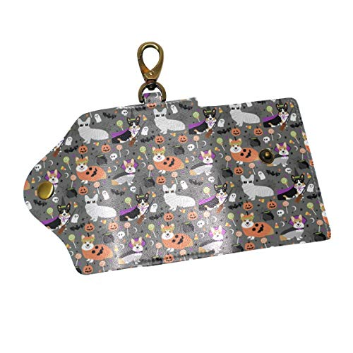 Corgi Halloween Party Cute Corgis Dressed Up October 31St Leather Key Case Wallet for Women Men with 6 Hook Card Slot Car Key Chain Holder Pocket Key Fob Organizer Cover,Keychain/Ring ()