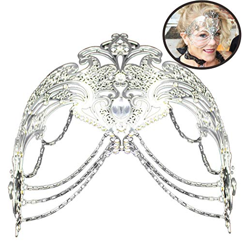 Coxeer Masquerade Mask Metal Venetian Mask Halloween Mardi Gras Mask Christmas Wedding Party Mask (Silver) ()
