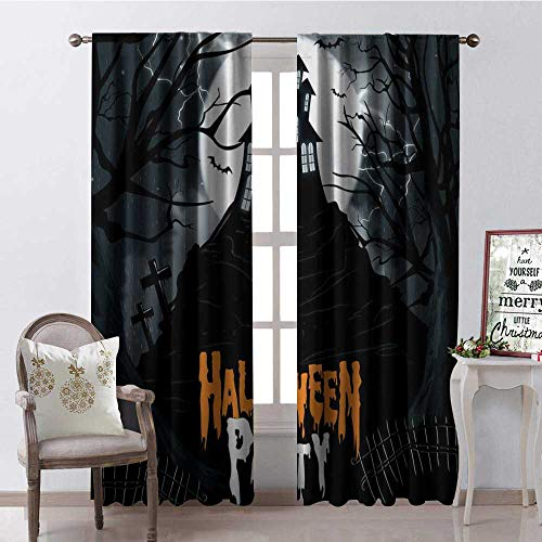 Hengshu Halloween Castle Party Waterproof Window Curtain Decorative Curtains for Living Room W96 x L96