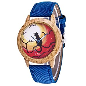 Loweryeah Womens Blue Denim Band Halloween Cat Ghost Wooden Dial Quartz Analog Wrist Watch 24cm