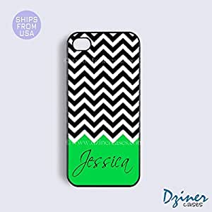Monogrammed iPhone 4 4s Case - Black White Chevron Green Pattern iPhone Cover