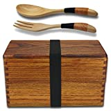 Bento Boxes, Japanese Vintage Traditional Natural Square Wooden Lunch Containers Women's Men's Adult Kids Wood Lunch boxes with Spoon Fork kit