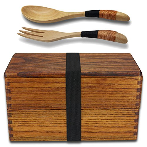 Lunch Boxes, Lunch Box for Adult, AOOSY Japanese Vintage Traditional Natural Square Wooden Lunch Containers Women's Men's Kids Boys Girls Wood Bento Boxes with Spoon Fork kit