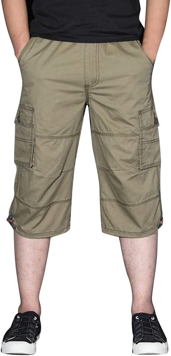 Pantalón Cortos Cargo Elástico Cómodo Algodón para Hombre ...
