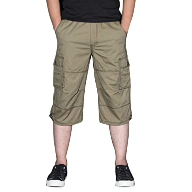 Pantalón Cortos Cargo Elástico Cómodo Algodón para Hombre Casual ...