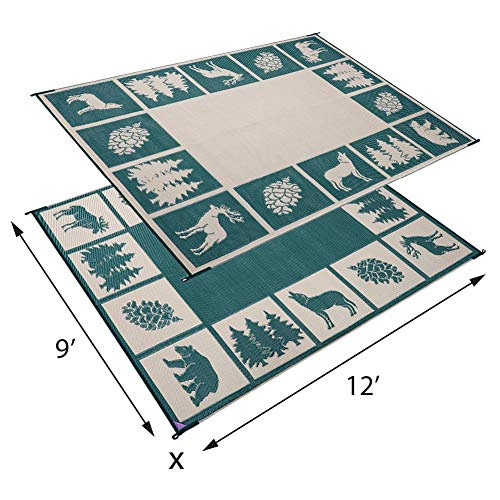 Reversible-Mats-226094-GreenBeige-6-x-9-RV-Outdoor-Camping-Patio-Wilderness-Hunter