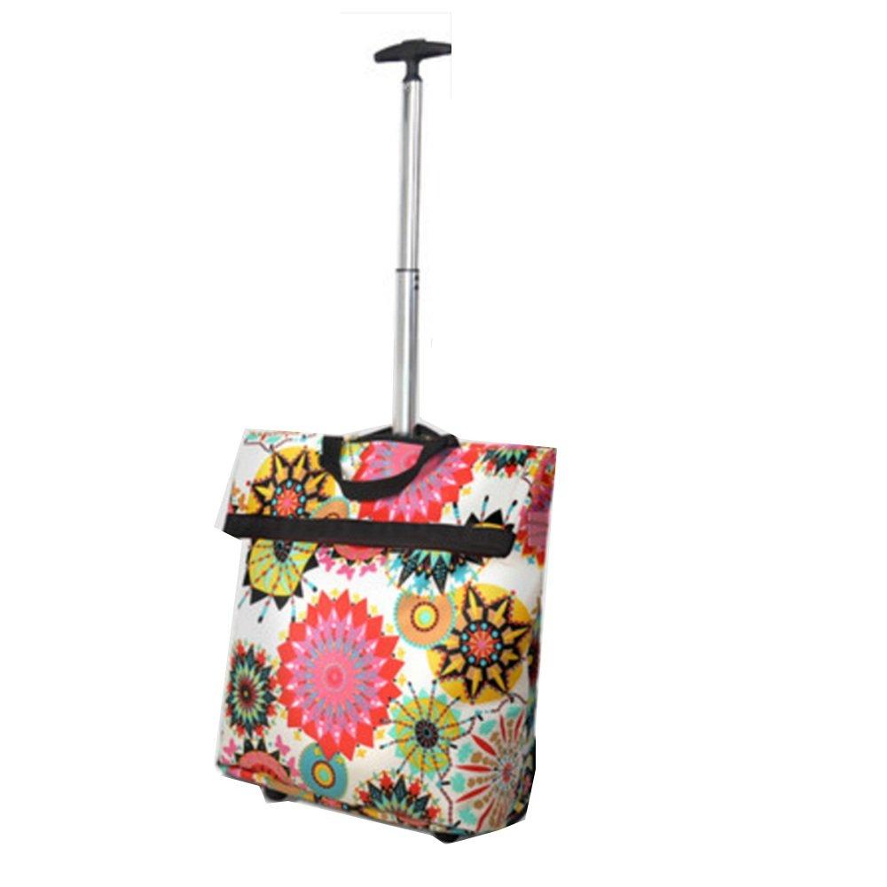 NAN ショッピングカートFoldableショッピングバッグTugboatショッピングロッドトラベルストレージバッグポータブル荷物袋(100 * 36Cm) トレーラー (色 : Sun flower) B07DZGLQBJ  Sun flower