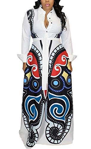 LKOUS Womens Casual Spring Print Button Long Sleeve Loose Maxi Dresses Shirt Blouse Cocktail White M ()