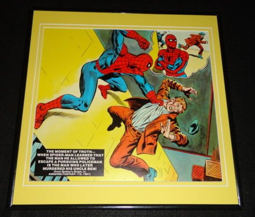 Amazing Spiderman ORIGINAL Framed 1977 Marvel Origin Poster 12x12