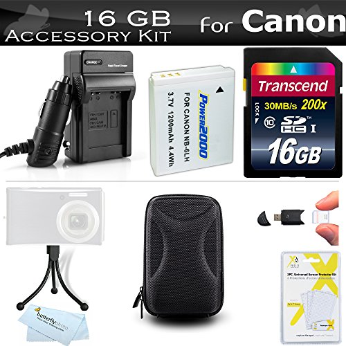 16GB Accessories Kit for Canon PowerShot SX600 HS, SX700 HS, ELPH 500 HS, SX610 HS, SX710 HS Digital Camera Includes 16GB High Speed SD Memory Card + Replacement NB-6L Battery + Charger + Case + More