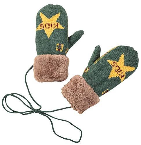 擬人見えるチケット1組男の子女の子暖かい柔らかい冬の手袋ファッションミトン、濃い緑色(4?10歳)