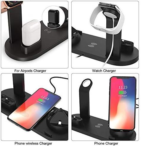 ワイヤレス充電器駅、6 1で10Wは、高速、アップルウォッチAirpods用充電ドックiPhone 11/11のPro / X/のX最大/XR / 8プラス/サムスンS10 / S10 + / S9 / S9 + / S8 + /注9に対応し、より多くの,黒